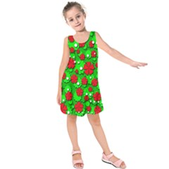 Xmas flowers Kids  Sleeveless Dress