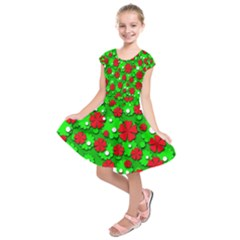 Xmas flowers Kids  Short Sleeve Dress