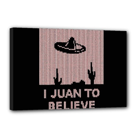 I Juan To Believe Ugly Holiday Christmas Black Background Canvas 18  x 12