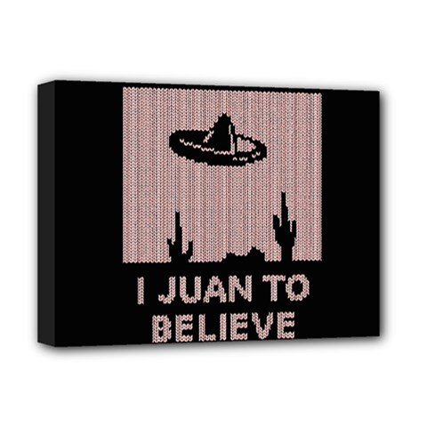 I Juan To Believe Ugly Holiday Christmas Black Background Deluxe Canvas 16  x 12