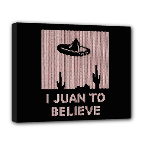 I Juan To Believe Ugly Holiday Christmas Black Background Deluxe Canvas 20  x 16