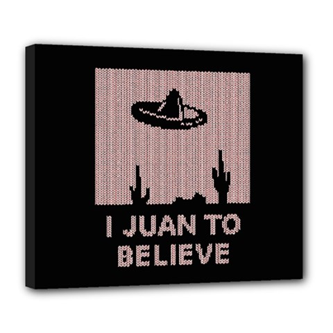 I Juan To Believe Ugly Holiday Christmas Black Background Deluxe Canvas 24  x 20