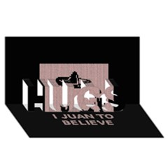 I Juan To Believe Ugly Holiday Christmas Black Background HUGS 3D Greeting Card (8x4)
