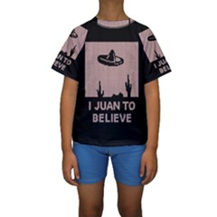 I Juan To Believe Ugly Holiday Christmas Black Background Kids  Short Sleeve Swimwear