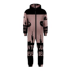 I Juan To Believe Ugly Holiday Christmas Black Background Hooded Jumpsuit (Kids)