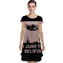 I Juan To Believe Ugly Holiday Christmas Black Background Cap Sleeve Nightdress