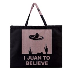 I Juan To Believe Ugly Holiday Christmas Black Background Zipper Large Tote Bag