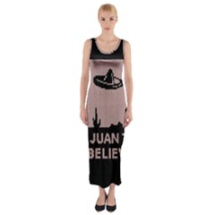 I Juan To Believe Ugly Holiday Christmas Black Background Fitted Maxi Dress