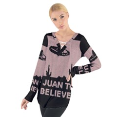 I Juan To Believe Ugly Holiday Christmas Black Background Women s Tie Up Tee