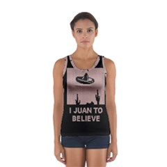 I Juan To Believe Ugly Holiday Christmas Black Background Women s Sport Tank Top