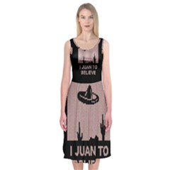 I Juan To Believe Ugly Holiday Christmas Black Background Midi Sleeveless Dress