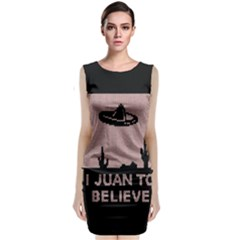 I Juan To Believe Ugly Holiday Christmas Black Background Classic Sleeveless Midi Dress