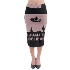 I Juan To Believe Ugly Holiday Christmas Black Background Midi Pencil Skirt