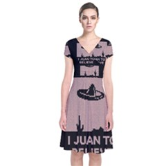 I Juan To Believe Ugly Holiday Christmas Black Background Short Sleeve Front Wrap Dress