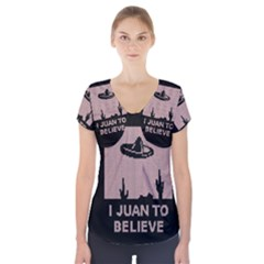 I Juan To Believe Ugly Holiday Christmas Black Background Short Sleeve Front Detail Top