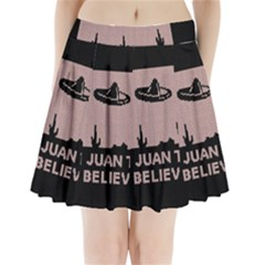 I Juan To Believe Ugly Holiday Christmas Black Background Pleated Mini Skirt