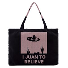 I Juan To Believe Ugly Holiday Christmas Black Background Medium Zipper Tote Bag