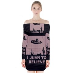 I Juan To Believe Ugly Holiday Christmas Black Background Long Sleeve Off Shoulder Dress