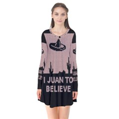 I Juan To Believe Ugly Holiday Christmas Black Background Flare Dress