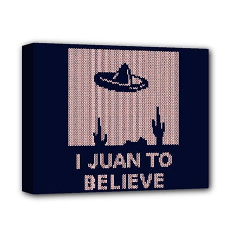 I Juan To Believe Ugly Holiday Christmas Blue Background Deluxe Canvas 14  x 11