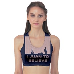 I Juan To Believe Ugly Holiday Christmas Blue Background Sports Bra