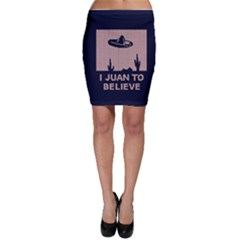 I Juan To Believe Ugly Holiday Christmas Blue Background Bodycon Skirt