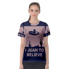 I Juan To Believe Ugly Holiday Christmas Blue Background Women s Sport Mesh Tee