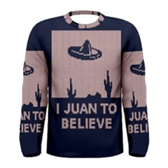 I Juan To Believe Ugly Holiday Christmas Blue Background Men s Long Sleeve Tee