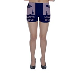 I Juan To Believe Ugly Holiday Christmas Blue Background Skinny Shorts