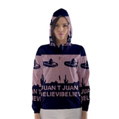 I Juan To Believe Ugly Holiday Christmas Blue Background Hooded Wind Breaker (Women)