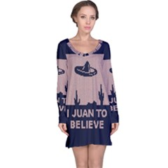 I Juan To Believe Ugly Holiday Christmas Blue Background Long Sleeve Nightdress