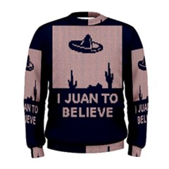 I Juan To Believe Ugly Holiday Christmas Blue Background Men s Sweatshirt
