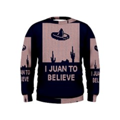 I Juan To Believe Ugly Holiday Christmas Blue Background Kids  Sweatshirt