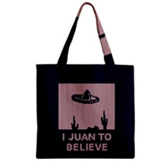 I Juan To Believe Ugly Holiday Christmas Blue Background Zipper Grocery Tote Bag
