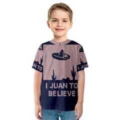 I Juan To Believe Ugly Holiday Christmas Blue Background Kids  Sport Mesh Tee