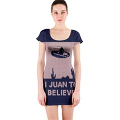 I Juan To Believe Ugly Holiday Christmas Blue Background Short Sleeve Bodycon Dress