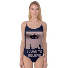 I Juan To Believe Ugly Holiday Christmas Blue Background Camisole Leotard