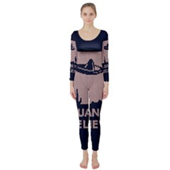 I Juan To Believe Ugly Holiday Christmas Blue Background Long Sleeve Catsuit