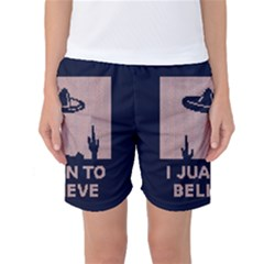 I Juan To Believe Ugly Holiday Christmas Blue Background Women s Basketball Shorts