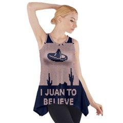 I Juan To Believe Ugly Holiday Christmas Blue Background Side Drop Tank Tunic