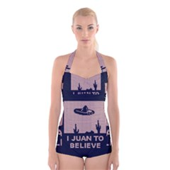 I Juan To Believe Ugly Holiday Christmas Blue Background Boyleg Halter Swimsuit