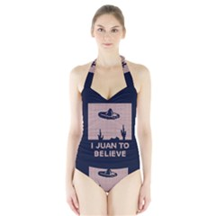 I Juan To Believe Ugly Holiday Christmas Blue Background Halter Swimsuit