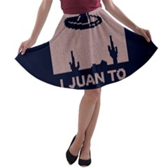 I Juan To Believe Ugly Holiday Christmas Blue Background A-line Skater Skirt