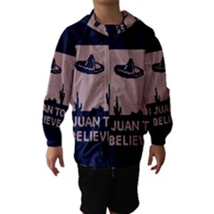 I Juan To Believe Ugly Holiday Christmas Blue Background Hooded Wind Breaker (Kids)