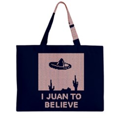I Juan To Believe Ugly Holiday Christmas Blue Background Large Tote Bag