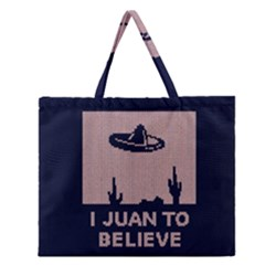 I Juan To Believe Ugly Holiday Christmas Blue Background Zipper Large Tote Bag