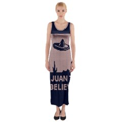 I Juan To Believe Ugly Holiday Christmas Blue Background Fitted Maxi Dress
