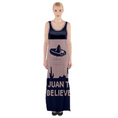 I Juan To Believe Ugly Holiday Christmas Blue Background Maxi Thigh Split Dress