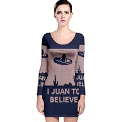 I Juan To Believe Ugly Holiday Christmas Blue Background Long Sleeve Velvet Bodycon Dress