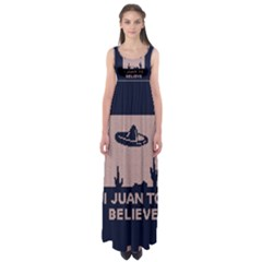 I Juan To Believe Ugly Holiday Christmas Blue Background Empire Waist Maxi Dress